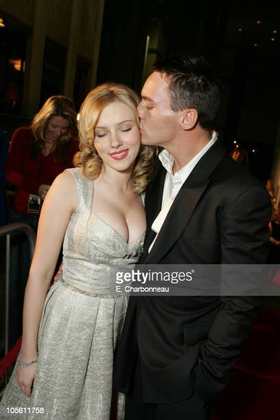 """Scarlett Johansson and Jonathan Rhys-Meyers during Dreamworks' """"Match Point"""" Los Angeles Premiere at LACMA in Los Angeles, California, United States."""