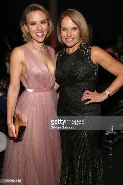 Scarlett Johansson and Katie Couric attend American Museum Of Natural History's 2018 Museum Gala at American Museum of Natural History on November 15...