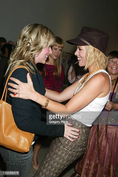 Scarlett Johansson and Maria Bello during Olympus Fashion Week Spring 2006 Roland Mouret Sponsored by Motorola Front Row and Backstage at Skylight...