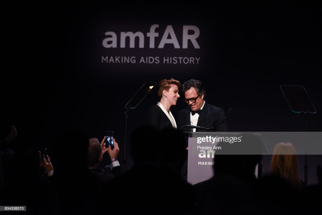 Scarlett Johansson and Mark Ruffalo attend 19th Annual amfAR New York Gala at Cipriani Wall Street on February 8, 2017 in New York City.