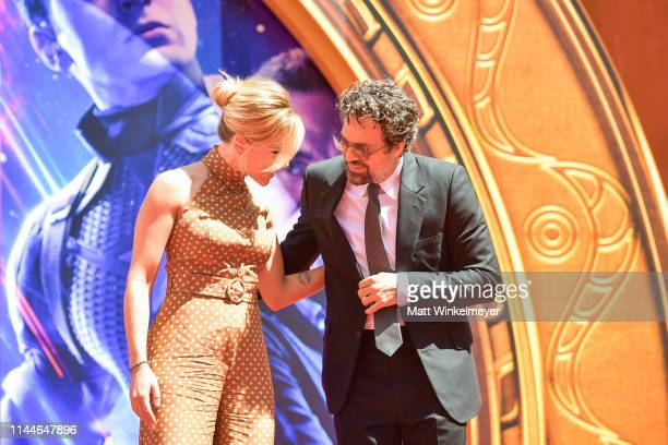Scarlett Johansson and Mark Ruffalo pose at the Marvel Studios' 'Avengers Endgame' Cast Place Their Hand Prints In Cement At TCL Chinese Theatre IMAX...