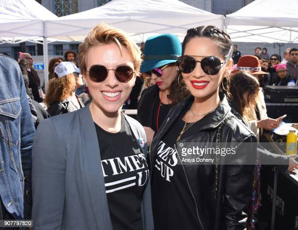 Scarlett Johansson and Olivia Munn at the 2018 Women's March Los Angeles at Pershing Square on January 20 2018 in Los Angeles California