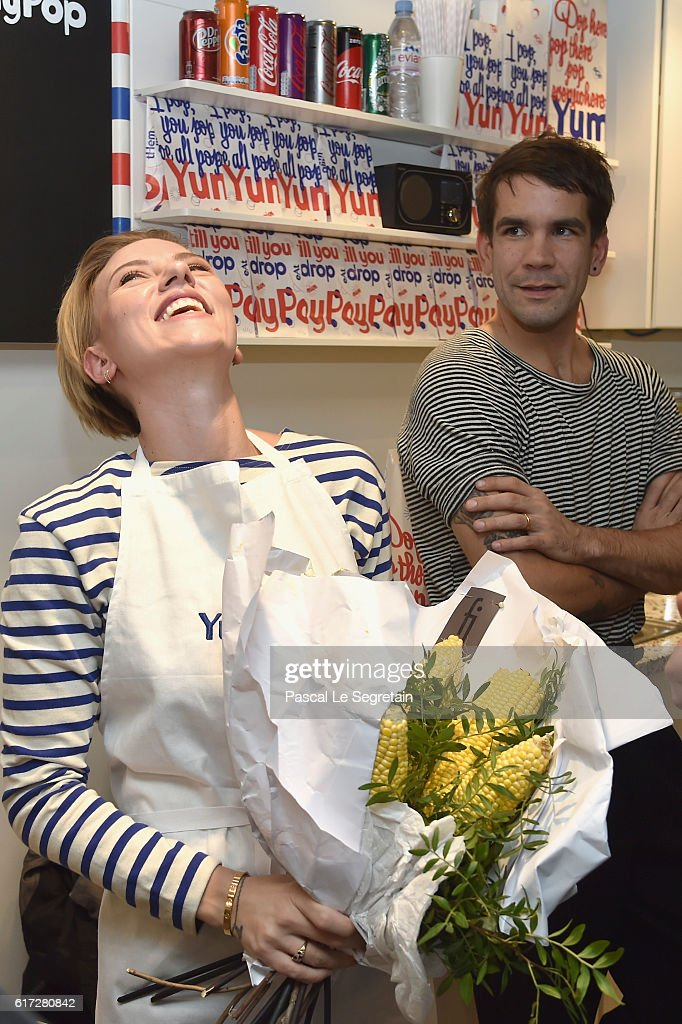 Scarlett Johansson and Romain Dauriac attend the opening of the Yummy Pop shop where Scarlett Johansson opens the new store Yummy Pop in Le Marais, Paris on October 22, 2016 in Paris, France.