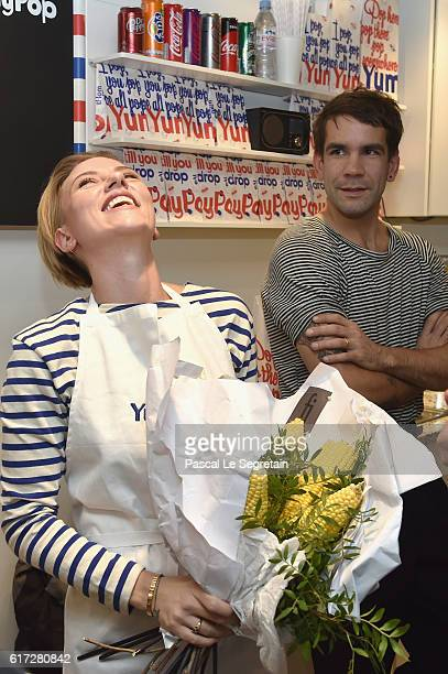 Scarlett Johansson and Romain Dauriac attend the opening of the Yummy Pop shop where Scarlett Johansson opens the new store Yummy Pop in Le Marais...