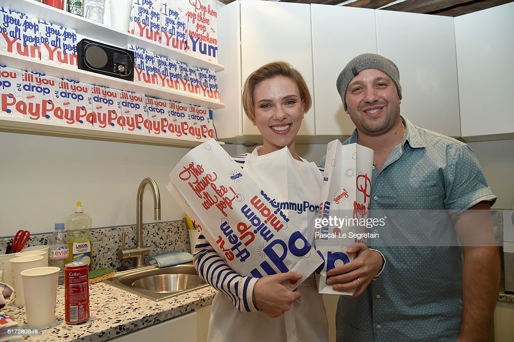 Scarlett Johansson and Will Horowitz attend the opening of the Yummy Pop shop where Scarlett Johansson opens the new store Yummy Pop in Le Marais, Paris on October 22, 2016 in Paris, France.