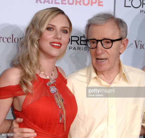 Scarlett Johansson and Woody Allen arrives at The Los Angeles Premiere of Vicky Cristina Barcelona at the Mann Village Theatre on August 4 2008 in...