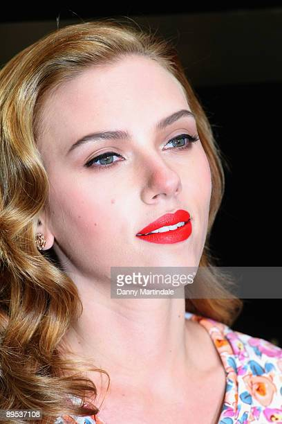 Scarlett Johansson arrives at Selfridges to launch Dolce and Gabbana Make Up at Selfridges on July 31 2009 in London England