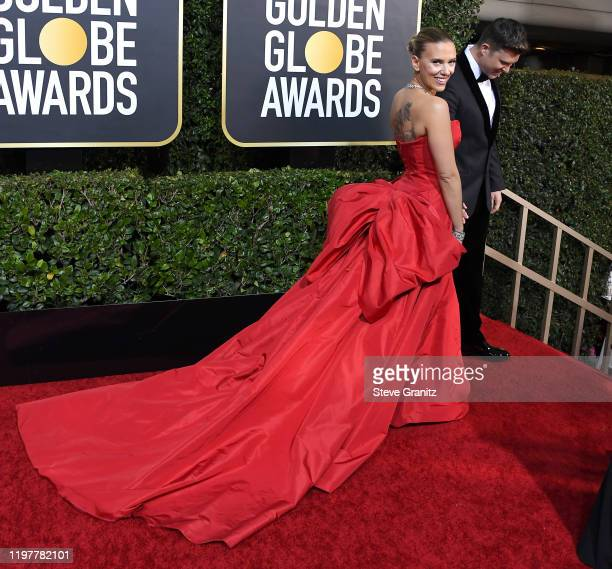 Scarlett Johansson arrives at the 77th Annual Golden Globe Awards attends the 77th Annual Golden Globe Awards at The Beverly Hilton Hotel on January...