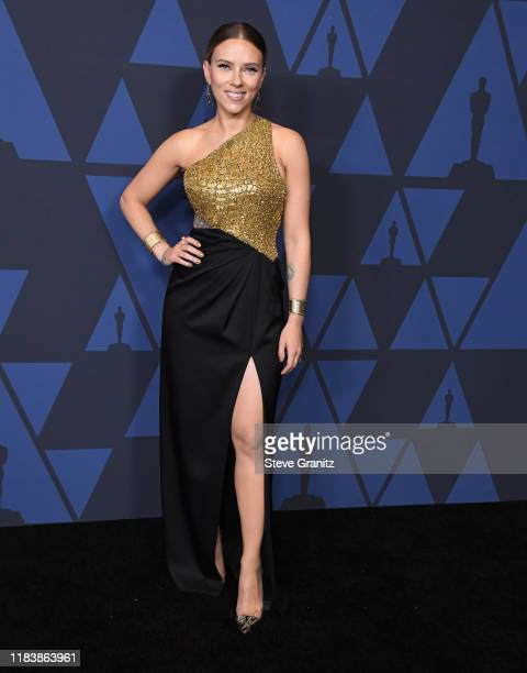 Scarlett Johansson arrives at the Academy Of Motion Picture Arts And Sciences' 11th Annual Governors Awards at The Ray Dolby Ballroom at Hollywood...