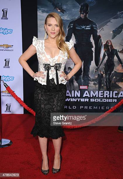 Scarlett Johansson arrives at the Captain America The Winter Soldier Los Angeles Premiere at the El Capitan TheatrePLEASE NOTE THIS IS AN INVITATION...