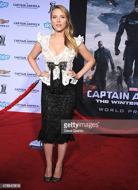 """Scarlett Johansson arrives at the """"Captain America: The Winter Soldier"""" - Los Angeles Premiere at the El Capitan TheatrePLEASE NOTE THIS IS AN..."""