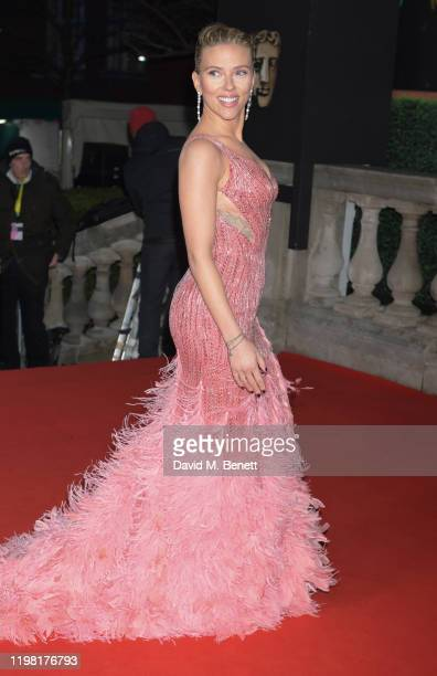 Scarlett Johansson arrives at the EE British Academy Film Awards 2020 at Royal Albert Hall on February 2, 2020 in London, England.