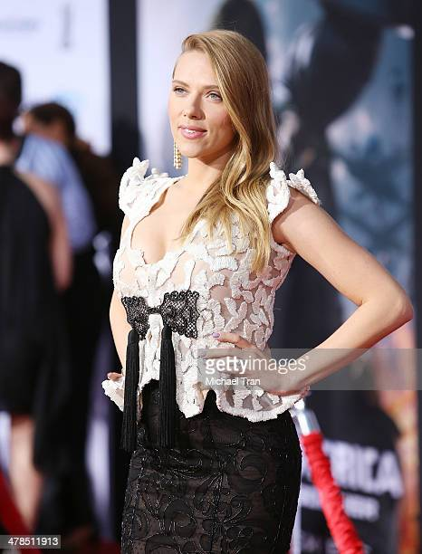 """Scarlett Johansson arrives at the Los Angeles premiere of """"Captain America: The Winter Soldier"""" held at the El Capitan Theatre on March 13, 2014 in..."""