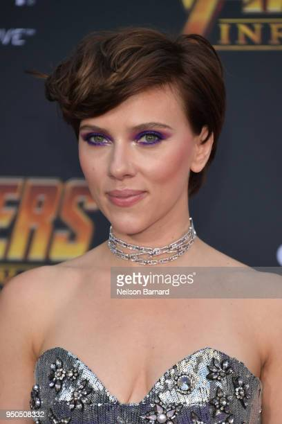Scarlett Johansson arrives at the Premiere Of Disney And Marvel's 'Avengers Infinity War' on April 23 2018 in Los Angeles California