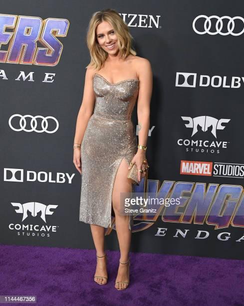 "Scarlett Johansson arrives at the world premiere Of Walt Disney Studios Motion Pictures ""Avengers: Endgame"" at Los Angeles Convention Center on April..."