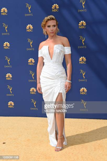 Scarlett Johansson arrives for the 70th Emmy Awards at the Microsoft Theatre in Los Angeles California on September 17 2018