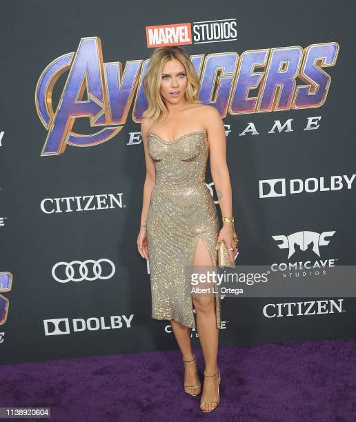 Scarlett Johansson arrives for the World Premiere Of Walt Disney Studios Motion Pictures Avengers Endgame held at Los Angeles Convention Center on...