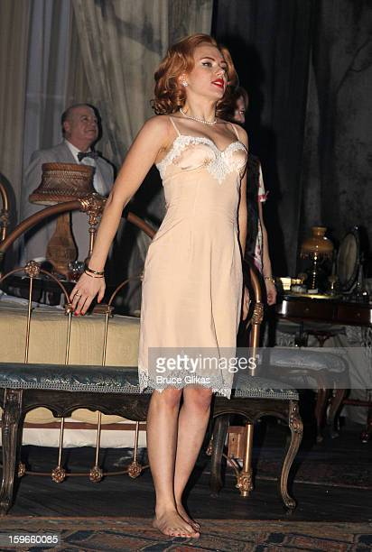 Scarlett Johansson as Maggie the Cat takes her Opening Night curtain call in Cat On A Hot Tin Roof on Broadway at The Richard Rodgers Theatre on...