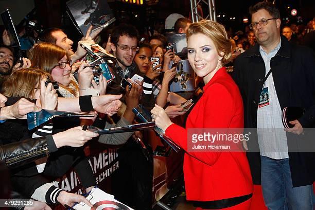 Scarlett Johansson attends 'Captain America The Winter Soldier' Paris Premiere at Le Grand Rex on March 17 2014 in Paris France