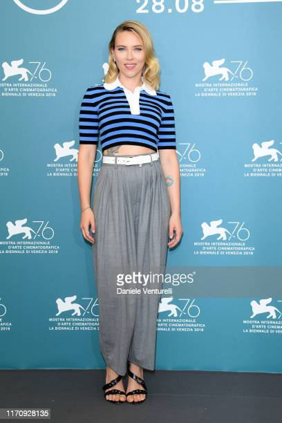 """Scarlett Johansson attends """"Marriage Story"""" photocall during the 76th Venice Film Festival at Sala Grande on August 29, 2019 in Venice, Italy."""