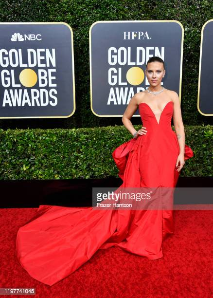 Scarlett Johansson attends the 77th Annual Golden Globe Awards at The Beverly Hilton Hotel on January 05, 2020 in Beverly Hills, California.