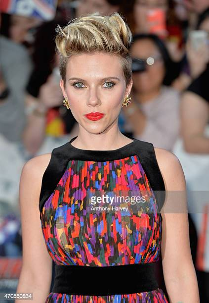 Scarlett Johansson attends 'The Avengers Age Of Ultron' European premiere at Westfield London on April 21 2015 in London England