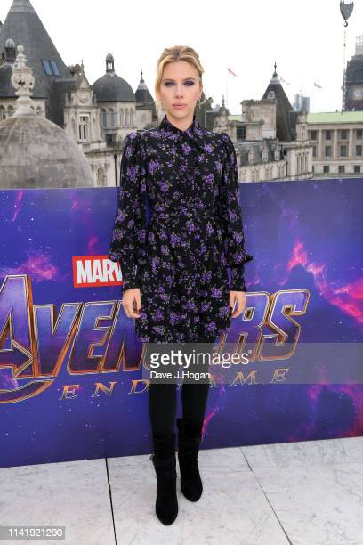 Scarlett Johansson attends the Avengers Endgame photocall at Corinthia Hotel London on April 11 2019 in London England
