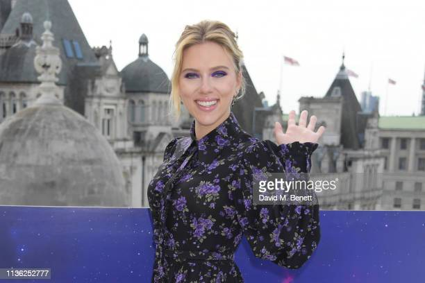"Scarlett Johansson attends the ""Avengers Endgame"" photocall at Corinthia London on April 11, 2019 in London, England."