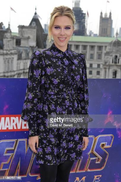 Scarlett Johansson attends the Avengers Endgame photocall at Corinthia London on April 11 2019 in London England