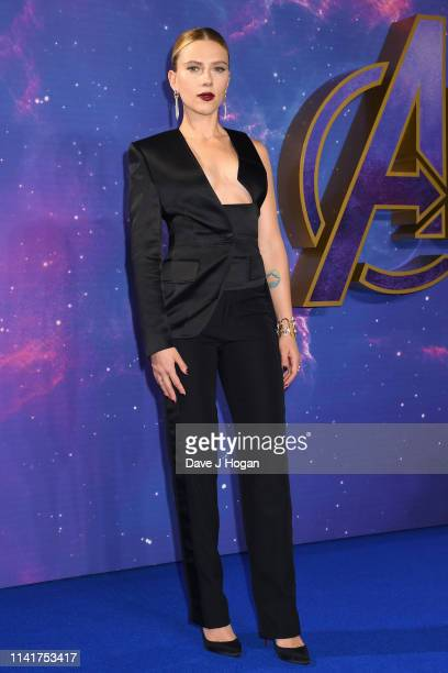 "Scarlett Johansson attends the ""Avengers Endgame"" UK Fan Event at Picturehouse Central on April 10, 2019 in London, England."