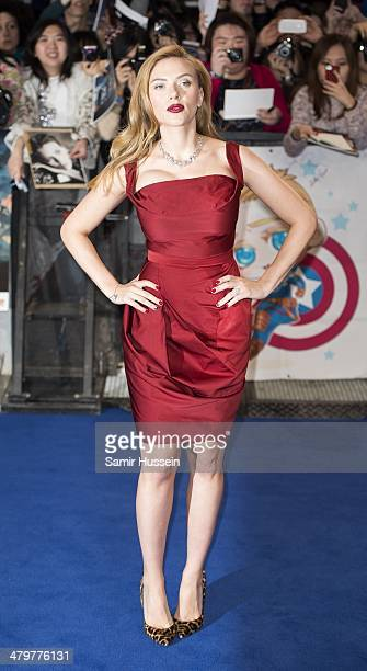 Scarlett Johansson attends the Captain America The Winter Soldier UK Film Premiere at Westfield London on March 20 2014 in London England