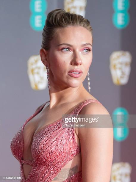 Scarlett Johansson attends the EE British Academy Film Awards 2020 at Royal Albert Hall on February 02 2020 in London England