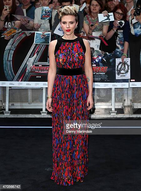 "Scarlett Johansson attends the European premiere of ""The Avengers: Age Of Ultron"" at Westfield London on April 21, 2015 in London, England."