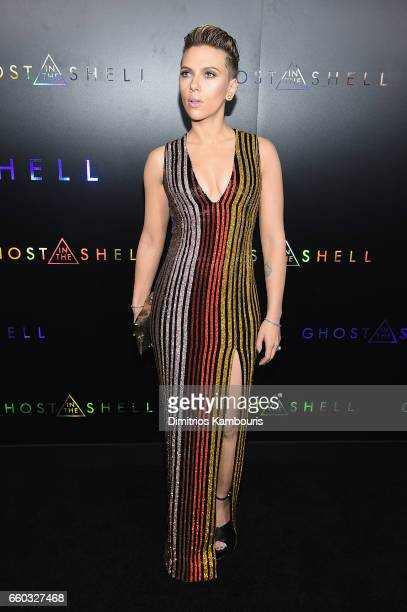 """Scarlett Johansson attends the """"Ghost In The Shell"""" premiere hosted by Paramount Pictures & DreamWorks Pictures at AMC Lincoln Square Theater on..."""