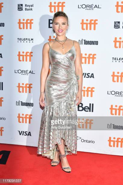 "Scarlett Johansson attends the ""Jojo Rabbit"" premiere during the 2019 Toronto International Film Festival at Princess of Wales Theatre on September..."