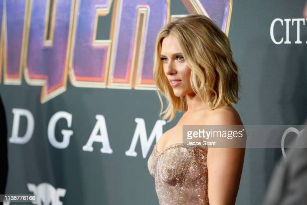 Scarlett Johansson attends the Los Angeles World Premiere of Marvel Studios' Avengers Endgame at the Los Angeles Convention Center on April 23 2019...