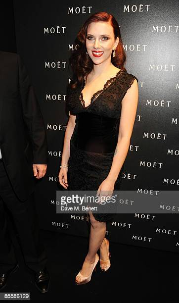 Scarlett Johansson attends the Moet Chandon A Tribute To Cinema Party at the Big Sky Studios on March 24 2009 in London England