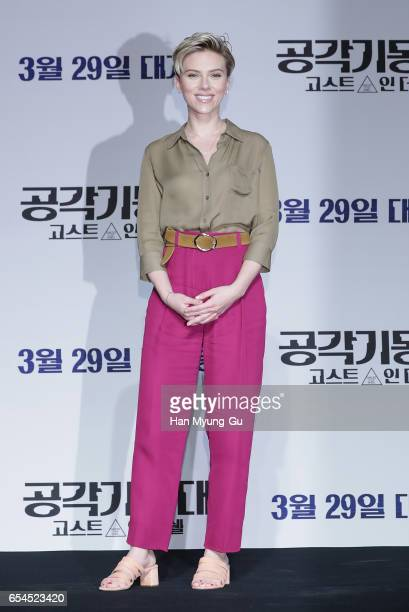 Scarlett Johansson attends the official press conference ahead of the Seoul Premiere of the Paramount Pictures release 'Ghost In The Shell' at the...