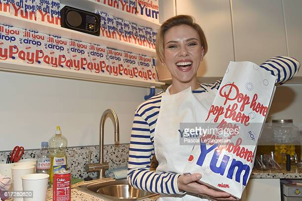 Scarlett Johansson attends the opening of the Yummy Pop shop where Scarlett Johansson opens the new store Yummy Pop in Le Marais Paris on October 22...