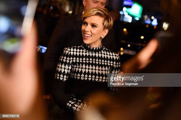Scarlett Johansson attends the Paris Premiere of the Paramount Pictures release Ghost In The Shell at Le Grand Rex on March 21 2017 in Paris France