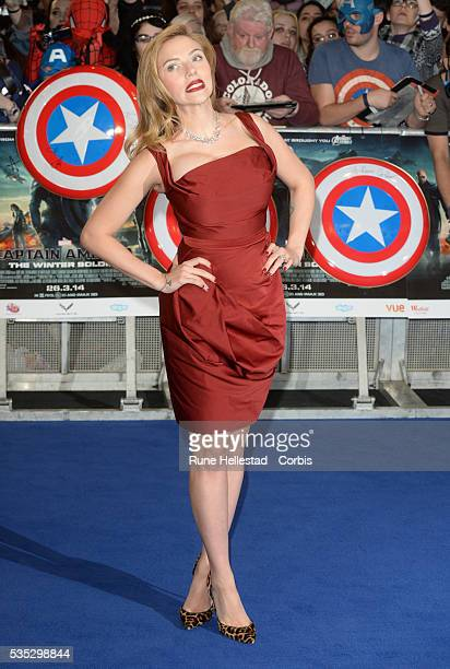 """Scarlett Johansson attends the premiere of """"Captain America: The Winter Soldier"""" at Westfield."""