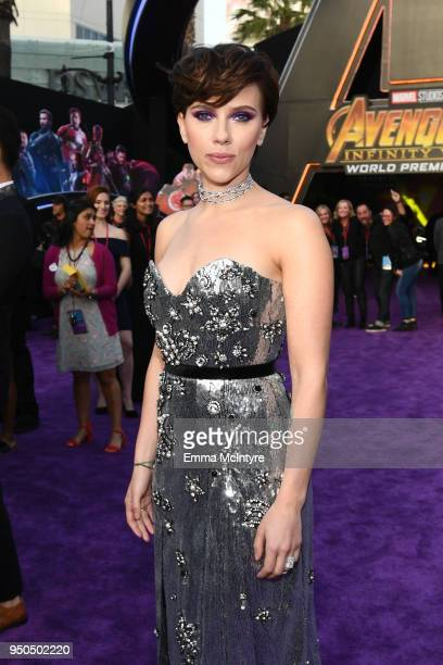 Scarlett Johansson attends the premiere of Disney and Marvel's 'Avengers Infinity War' on April 23 2018 in Los Angeles California