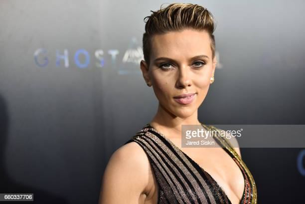 Scarlett Johansson attends the Premiere of 'Ghost in the Shell' hosted by Paramount Pictures and DreamWorks Pictures at AMC Lincoln Square Theater on...