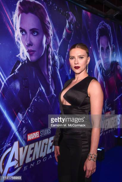 "Scarlett Johansson attends the UK Fan Event to celebrate the release of Marvel Studios' ""Avengers: Endgame"" at Picturehouse Central on April 10, 2019..."