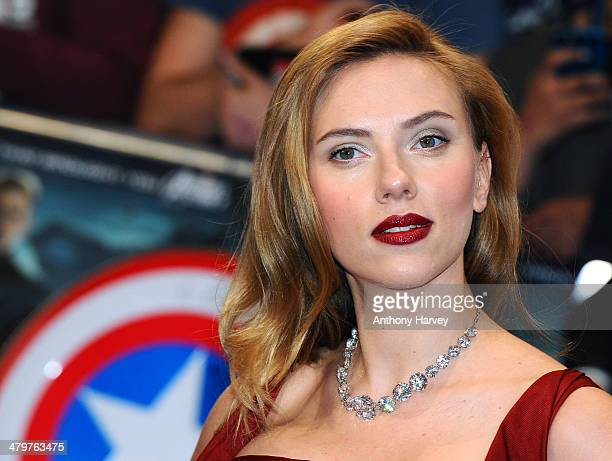"""Scarlett Johansson attends the UK Film Premiere of """"Captain America: The Winter Soldier"""" at Westfield London on March 20, 2014 in London, England."""
