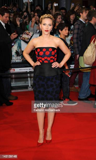 Scarlett Johansson attends the UK premiere of Marvel Avengers Assemble at Vue West End on April 19 2012 in London England