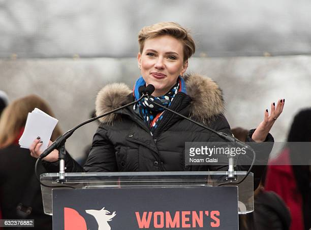 Scarlett Johansson attends the Women's March on Washington on January 21 2017 in Washington DC