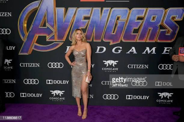 "Scarlett Johansson attends the World Premiere of Walt Disney Studios Motion Pictures ""Avengers: Endgame"" at Los Angeles Convention Center on April..."