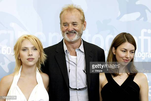 Scarlett Johansson Bill Murray and Sofia Coppola during 2003 Venice Film Festival Lost in Translation Photocall at Casino in Venice Lido Italy