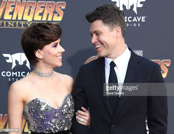 """Scarlett Johansson, Colin Jost arrives at the Premiere Of Disney And Marvel's """"Avengers: Infinity War"""" on April 23, 2018 in Los Angeles, California."""